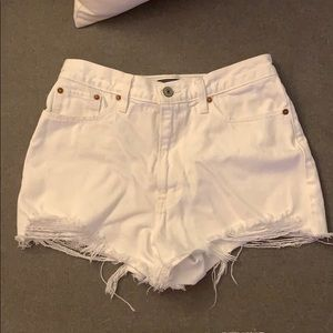 Abercrombie and Fitch high-waisted white shorts